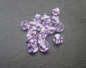 Purple 6 mm: 4 beads Swarovski Crystal bicones