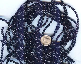 3mm Elegant Jet Black Glass Pearls 50 pcs