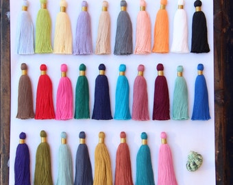 """Skinny Luxe Tassels, Fall Pantone Colors, 3+ Large Handmade Cotton, 3.25"""" You Choose Color, Designer Quality Jewelry Making, Craft Supplies"""