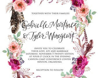 Floral Feathers Wedding Invitation