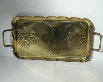 Antique Arts and Crafts Brass Handled Tray Celtic Design Celts