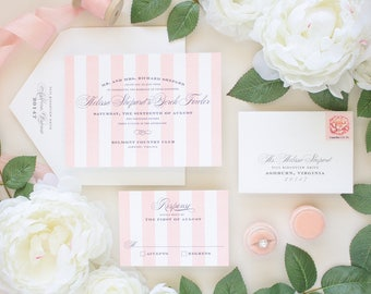 Letterpress Wedding Invitations, Pink Stripes Invite, Calligraphy Script Invites, Formal Wedding, Letterpress Invitation SAMPLES | Debonair