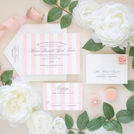 Letterpress Wedding Invitations, Pink Stripes Invite, Calligraphy Script Invites, Formal Wedding, Letterpress Invitation SAMPLES | Debonair