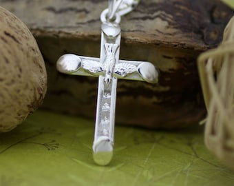 Sterling Silver Cross Necklace, Silver Holy Spirit Cross Pendant, Silver Cross with CZ, Catholic Necklace, SMALL Silver Crucifix with CZ