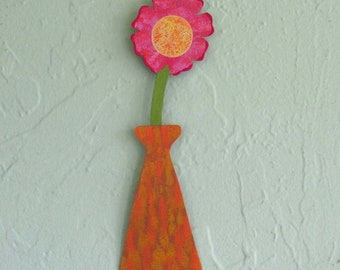 Metal flower sculpture vase home wall decor reclaimed metal wall art pink orange yellow 3 x 9