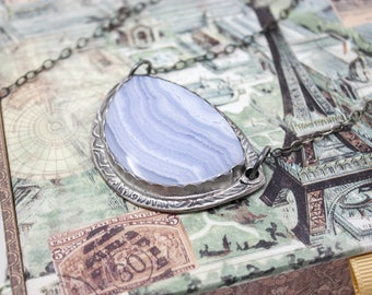 Blue Lace Agate Fine Silver Necklace
