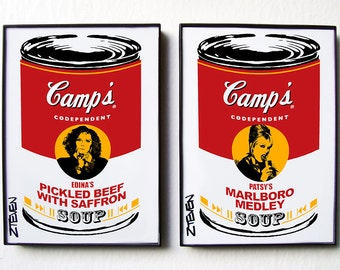 Absolutely Fabulous Edina and Patsy Framed Custom Pop Art Soup set by Zteven