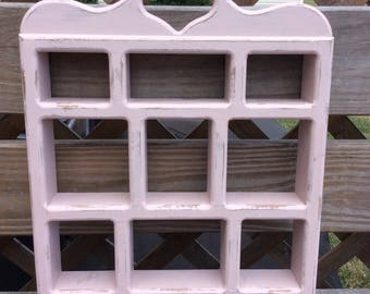 Vintage Shabby Chic Handpainted Pink Wooden Wall Shelf, Boho Display Shelf,  Wall Decor Storage