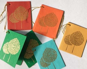 5 Gold Tree Gift tags, Diwali gifts, Indian wedding, Gift tag set, Party favor tag set, Christmas gift tags, Holiday cards, Holiday tags