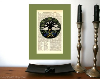 Immortal Tree Art Print on Antique 1896 Dictionary Book Page