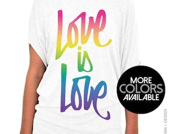 Gay Pride Shirt - Rainbow Script Love is Love - Women's Off the Shoulder Slouchy Tee - Gay Pride Top, LGBT Pride Shirt, Cute t-shirt