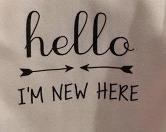 Personalized onesie, custom onesie, hello i'm new here