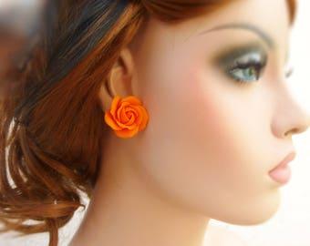 Rose earrings Orange earrings Stud Earrings Flowers earrings Cute earrings Floral earrings Colorful Earrings