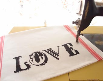 Tea Towel - Hand Stenciled