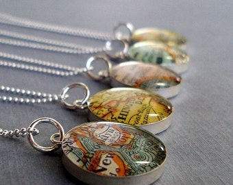 Vintage Map Necklace Sterling Siver