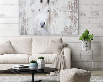White Western Horse Photographic Print Extra Large Grey Rustic Canvas Art Up To 72 By Irena Orlov