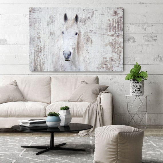 """White Western Horse Photographic Print. Extra Large Horse, White Grey Rustic Horse, Large Canvas Art Print up to 72"""" by Irena Orlov"""