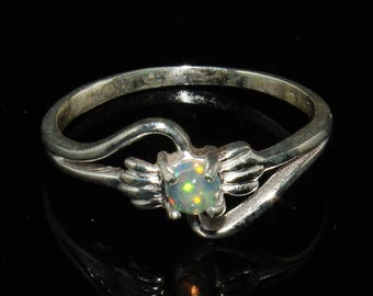 Natural Opal Ring - Ethiopian Opal Stacking Ring - Delicate Ring - Opal Jewelry