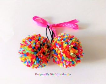 Pair of Reusable and Versatile Rainbow Sprinkles Pom Pom Ponytail Holder Set, rainbow party favors, gift, goodies bag party gifts, hair ties