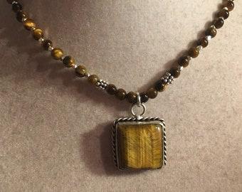 Brown Necklace - Tigers Eye Gemstone Jewellery - Pendant Jewelry - Sterling Silver - Beaded