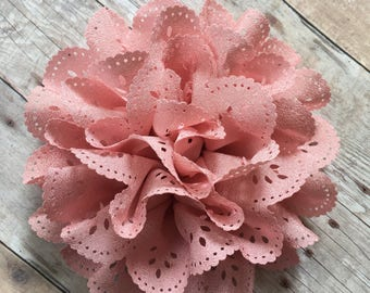 "Dusty Rose Eyelet Flower, 4"" Fabric Flower, DIY Infant Headband, Headband Supplies, Eyelet Flower, Hair bow flower, Hair accessorie supply"