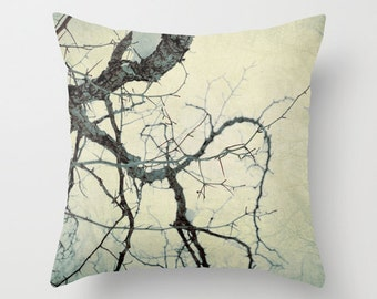 Pillow Cover, Tree Pillow, Nature Photo Pillow, Pale yellow blue Pillow, Decorative Pillow, Winter Tree Throw Pillow, 16x16 18x18 20x20