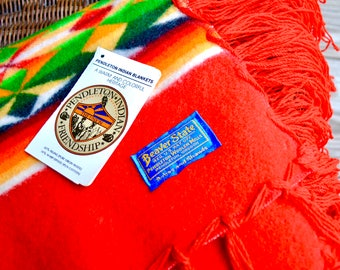Vibrant Vintage Pendleton Indian Friendship Blanket, Muchacho - Beaver State Oregon Woolen Mills, Virgin Wool Spool Spun Cotton Robes Shawls