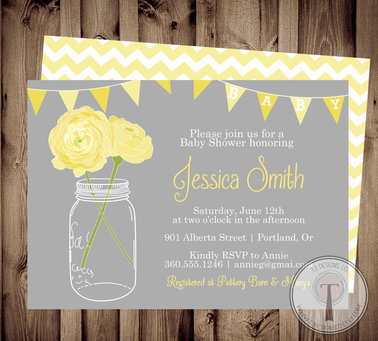 NEUTRAL Baby Shower Invitation Invite Mason Jar Flowers Yellow Gray