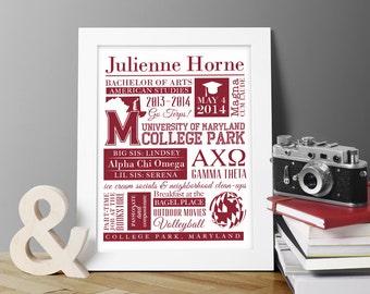 Graduación, Colegio Grad regalo, calendario personalizado muestra cartel tipografía impresión w. redacción personalizada, fraternidad, Hermandad de mujeres regalos únicos