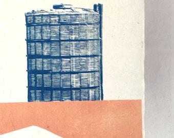 Gazomètre - linogravure - EDITION limitée de 10-21 x 29 cm
