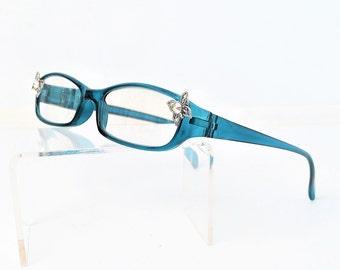 Reading glasses with Swarovski crystal butterfly, Eyeglasses +3.75