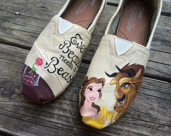Custom Hand Painted Toms - Disney Toms - Beauty and the Beast Toms DISNEY INSPIRED