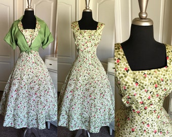 Vintage 1950's Green and Pink Rose Print Dress with Matching Bolero Large