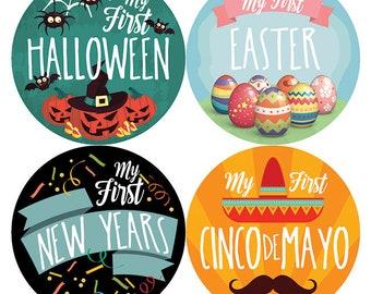 My First Holiday Baby Milestone Stickers, Baby First Holiday Stickers, Baby Monthly Stickers, Baby Shower Gift, PetiteFolio