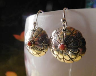 Vintage Native American Navajo Sterling Red Coral Round Dome Hand Stamped Earrings revamped w new 925 wires