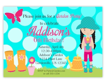 Garden Party Invitation - Turquoise Blue Polka Dot Sky, Lime Green Grass, Garden Personalized Birthday Party Invite - Digital Printable File