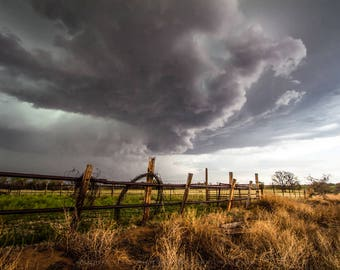 Western Fine Art Photography Print - Picture of Rolled Barbed Wire Fence and Storm in Oklahoma Ranch Decor Country Landscape Photo Print