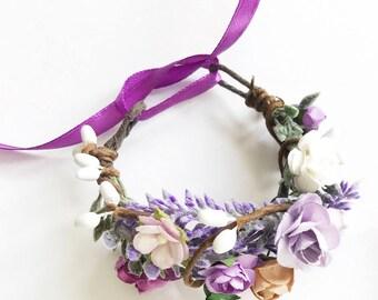 Purple lilac Flower wrist corsage, Provence bridesmaid bracelet, Bridal bracelet, Woodland wedding, Lavender wedding, Provence wedding,