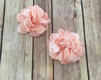 "Blush 4"" Satin Flower, Burned Edge flower, blush fabric flower, Singed Satin flower, DIY supplies, blush Headband flower, blush satin Flower"