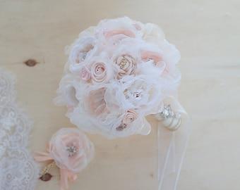 "9"" Ivory & Coral Wedding Bridal brooch Bouquet, Organza Fabric Bouquet, Yarn Bouquet, bride Bouquet, Coral Wedding Decor silk flower Bouquet"