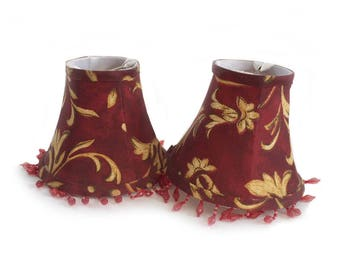 2 Chandelier Lamp Shades with Beads // Burgundy Claret Gold Mini Clip On Cloth Shades // Tapered Cloth Chandelier Shades