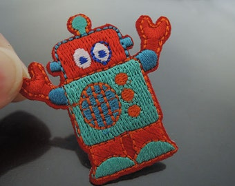 Robot Patches - Iron on Patches or Sewing on Patch Red Patches Embroidered Patch Small Robots Embellishment