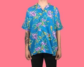 Vintage Blue Hawaiian Flower Print Shirt