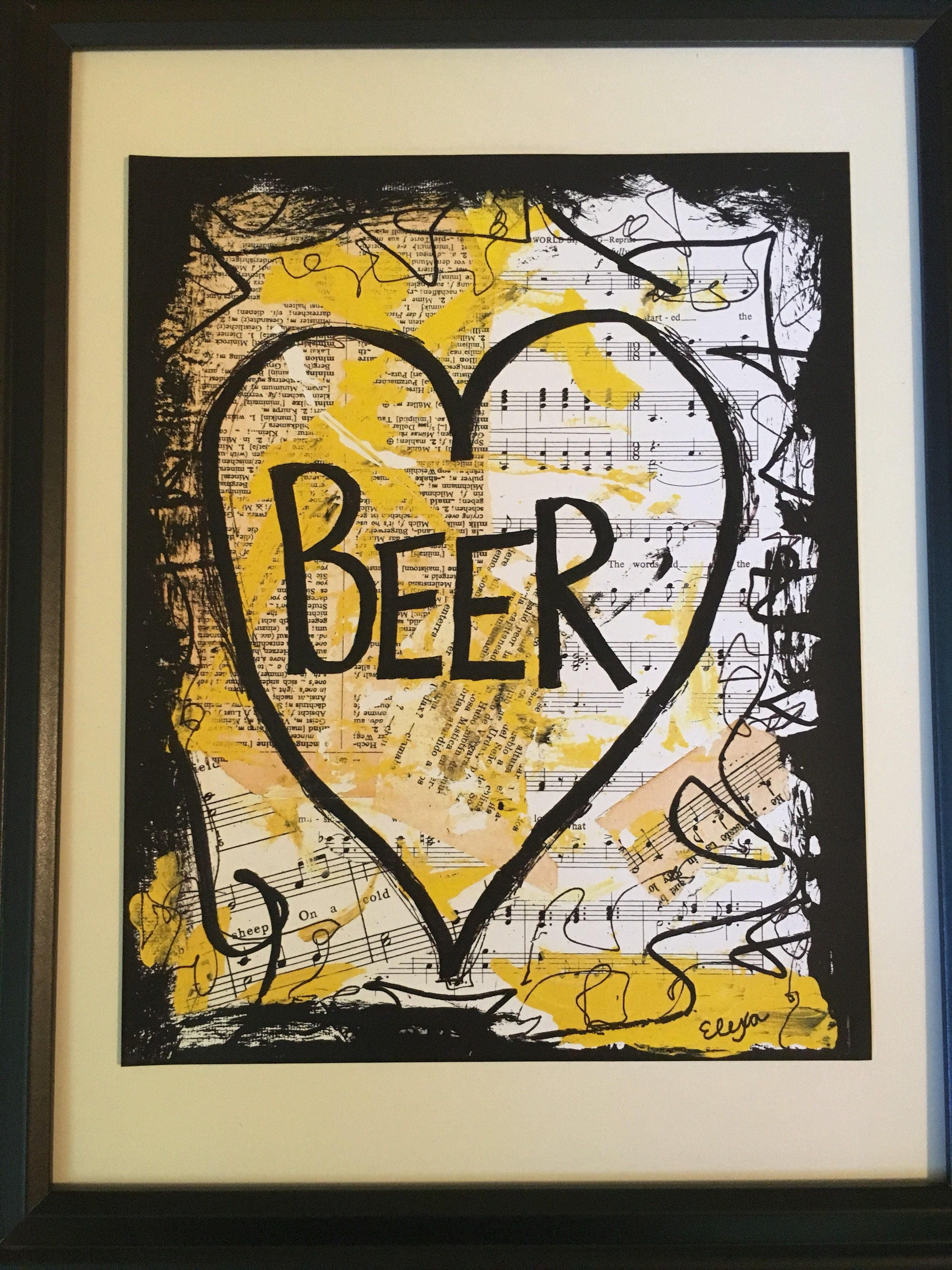 Beer art painting music book man cave booze boyfriend love