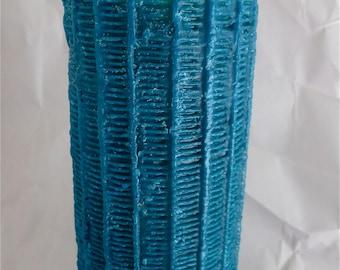 Hot Turquoise Tall Pillar Candle Mid Century Modern Statement Artisan Made