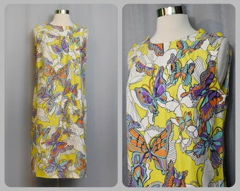 Yellow Butterfly Print 60s Shift Dress