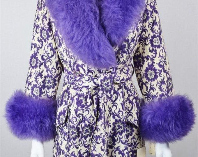 Nos Vintage 1960's Carpet TaPeStrY Purple SHEARLING TriMMeD HiPPiE BoHo GLaM Coat Size M