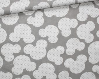 Fabric mice, 100% cotton printed 50 x 160 cm pattern mouse white on gray background
