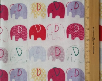 Cotton Flannel Fabric, Elephants on White flannel - By the Yard - Red, Pink, Purple, Yellow, Patterned