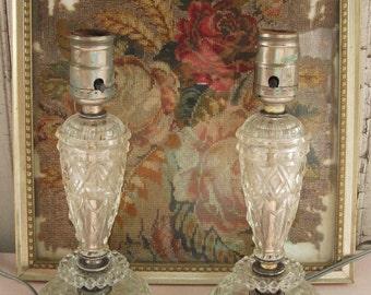Two Matching Vintage Pressed Glass Lamps Bedside Lamps Feminine Boudoir Girl's Bedroom